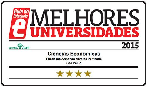 Selo Melhores Faculdades 2015 - Guia do Estudante - Ciências Econômicas FAAP
