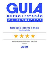 Selo 'Guia da Faculdade - Estadão + Quero Educação': Relações Internacionais, 4 estrelas - 2020