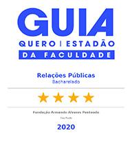 Selo 'Guia da Faculdade - Estadão + Quero Educação': Relações Públicas, 4 estrelas - 2020