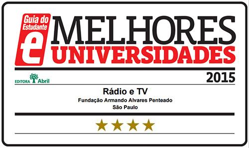 Selo Melhores Faculdades 2015 - Guia do Estudante - Rádio e TV FAAP