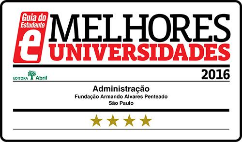 Selo Melhores Faculdades 2016 - Guia do Estudante - Administração FAAP