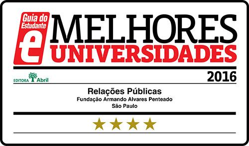 Selo Melhores Faculdades 2016 - Guia do Estudante - Relações Públicas FAAP