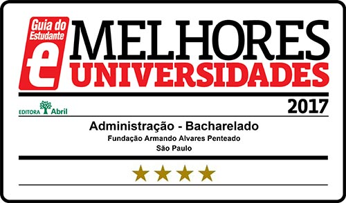 Selo Melhores Faculdades 2017 - Guia do Estudante - Administração FAAP