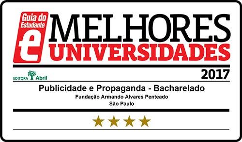Selo Melhores Faculdades 2017 - Guia do Estudante - Publicidade e Propaganda FAAP