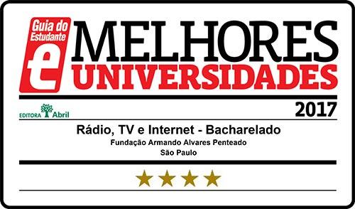 Selo Melhores Faculdades 2017 - Guia do Estudante - Rádio e TV FAAP